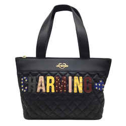 Love Moschino Black Faux Leathe Quilted Charming Tote