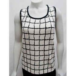 St. John Santana Knit Medium 08 10 Shell Bright White Black Plaid Checkered Wool