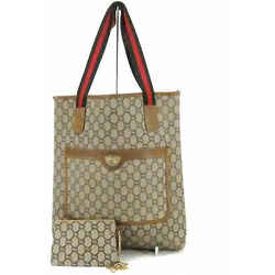 Authentic Gucci Plus Sherry Line Web Gg Logo Pvc Coated Canvas Tote Bag Italy