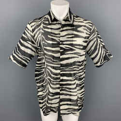 DRIES VAN NOTEN S/S 20 Size XXS Black & White Zebra Print Cotton Camp Short Sleeve Shirt
