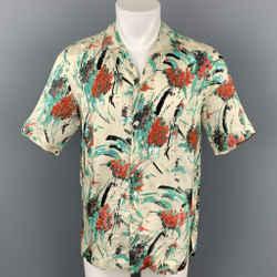 DRIES VAN NOTEN S/S 20 Size XS Beige & Green Beaded Viscose Camp Short Sleeve Shirt