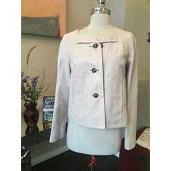 Chloe Size 38 Cream Leather Croped Jacket - 3-314-91519