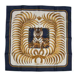 Hermes Scarf Silk Tigre Royal by Christiane Vauzelles