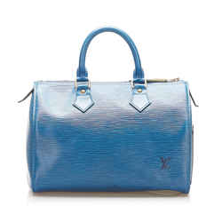 Vintage Authentic Louis Vuitton Blue Epi Leather Leather Epi Speedy 25 France
