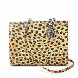 Auth Christian Dior Lady Canvas Handbag Leopard Pattern