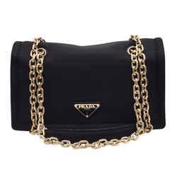 Prada Tessuto with Chain Black Nylon Shoulder Bag