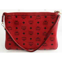 MCM Visetos Liz Shopper Tote Pouch - Red