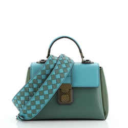 Piazza Top Handle Bag Leather with Intrecciato Detail Mini