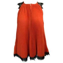 Barbara Bui Orange Pleated Lace Blouse