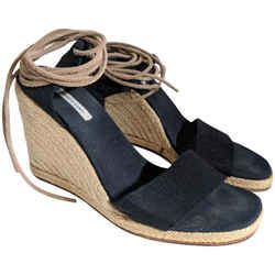Hermes Black Espadrille Lace Up Wedges US 8 / EU 38