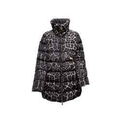 Black & Grey Moncler Torcelle Leopard Print Puffer Coat