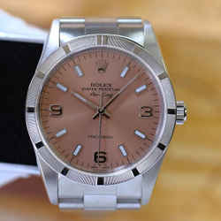 Rolex Airking SS Pink Salmon Dial 34mm Watch