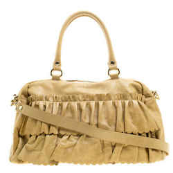 RED Valentino Yellow Leather Ruffle Shoulder Bag