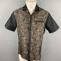 LANVIN Size S Black & Olive Print Silk Button Up Short Sleeve Shirt
