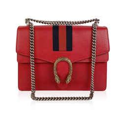 Gucci Red Hibiscus Leather Dionysus Medium Shoulder Bag