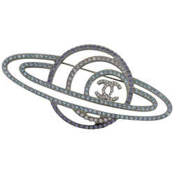 Chanel B17K CC Logo Saturn Brooch Planet Pin Crystal  862660