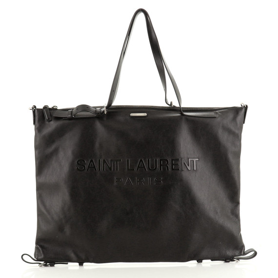 Embossed Logo ID Convertible Bag Embossed Leather