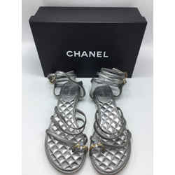 CHANEL Size 39/8 Pewter Sandals