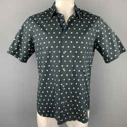 THEORY Size L Black & White Dots Cotton Blend Button Up Short Sleeve Shirt