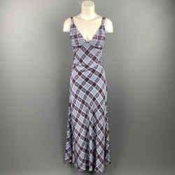 MARC JACOBS Size 8 Blue Plaid Silk Long Maxi Double Strap Dress