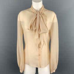 HERMES Size 8 Beige Crepe Silk Tie Neck Blouse