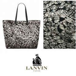 Lanvin Large Black White Diamonds Forever Print Leather Canvas Tote Purse Bag