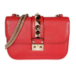 Valentino Red Leather Rockstud Glam Lock Bag