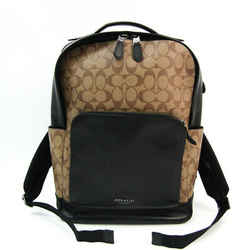 Coach Signature Graham F38755 Men's Coated Canvas,Leather Backpack Beig BF519590