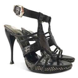 New $758 Giuseppe Zanotti Studded Ankle Strap Sandal - Black - Size 38.5