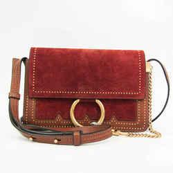 Chloe FAYE Women's Leather,Suede Studded Shoulder Bag Dark Brown,Red B BF524253