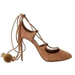 Dolce & Gabbana Beige Suede Tassel Ankle Strap Women's Pumps
