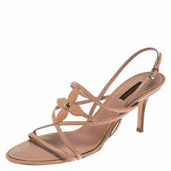 Louis Vuitton Nude Beige Vernis Fleur Strappy Sandals SIze 40.5