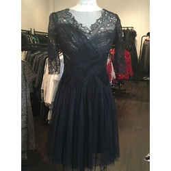 Monique Lhuillier Size 4 Black Silk Lace Tulle Mesh Dress Nwot 1-252-111619