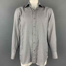 TOM FORD Size XL Black & White Plaid Cotton Button Up Long Sleeve Shirt