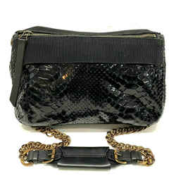Lanvin Python Patent Black Snakeskin Shoulder Crossbody Purse Shoulder Bag