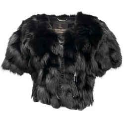 Roberto Cavalli Black Fox with Fringe Cropped Coat