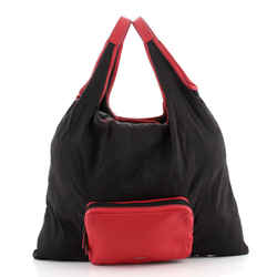 Expandable Shopping Bag Pequin Nylon and Leather