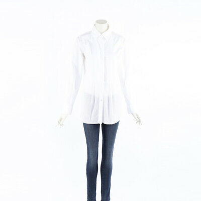 Chanel Top White Sheer Cotton Pleated Button Up SZ 38