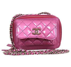 Chanel Camera Quilted Small Purple Patent Leather Cross Body Bag