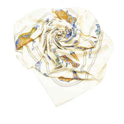 White Hermes QuImport le Flacon Silk Scarf