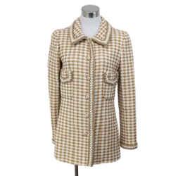 Chanel White Tan Herringbone Jacket Size 8