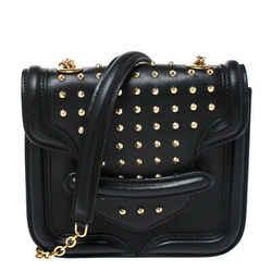Alexander McQueen Black Leather Mini Studded Heroine Crossbody Bag