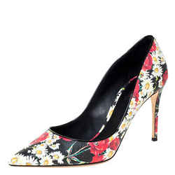 Dolce & Gabbana Multicolor Floral Saffiano Printed Leather Pointed Toe Pumps