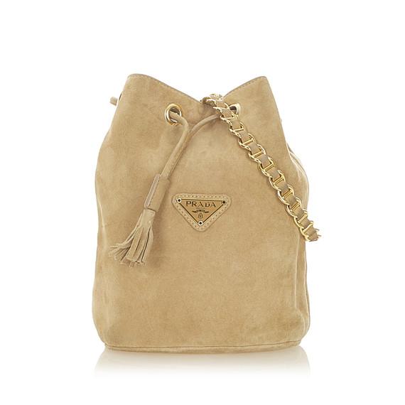 Brown Prada Suede Leather Bucket Bag