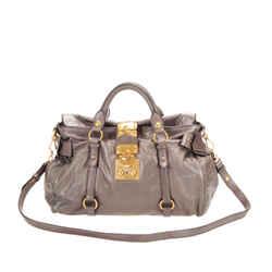 Vintage Authentic Miu Miu Gray Calf Leather Satchel France w/ Dust Bag