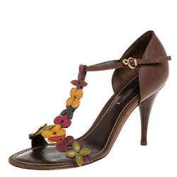 Louis Vuitton Brown Leather Aubepine Floral T Strap Sandals Size 37
