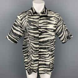 DRIES VAN NOTEN S/S 20 Size M White & Black Zebra Print Cotton Camp Short Sleeve Shirt