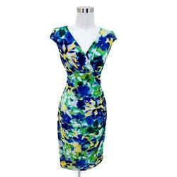 N417 Lauren Ralph Lauren Dress Size 4 Small Green Blue Floral Bodycon V-neck