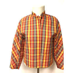 Vintage KENZO Green Yellow Multicolor Plaid Cotton Cropped Jacket