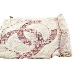 Chanel Pink Floral CC Logo Shawl Scarf Wrap 749ccs325